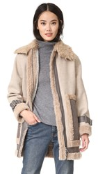 Rebecca Taylor Shearling Mixed Coat Champagne Combo