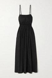 Matteau Net Sustain Gathered Cotton Poplin Maxi Dress Black