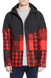 Neff 'Bloom' Water Resistant Quilted And Jacquard Woven Hooded Jacket Red