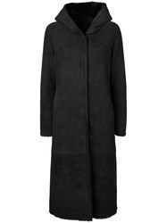 Liska Hooded Shearling Coat Black