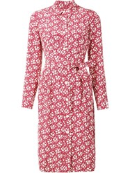 Ines De La Fressange Floral Print Shirt Dress Red