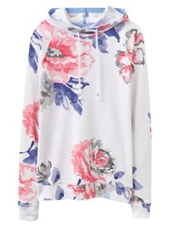 Joules Marlston Lightweight Floral Print Hoodie Bright White Floral