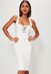 Missguided White Strappy Lace Up Front Midi Dress