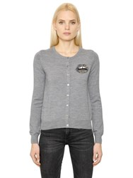 Markus Lupfer Sequin Lips Merino Wool Knit Cardigan