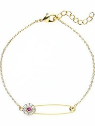 Eyland Jewellery Marlene Pave Safety Pin Bracelet Gold Plated