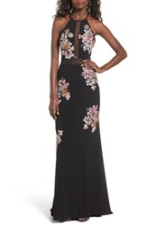 Xscape Evenings Women's Embellished Floral Halter Gown