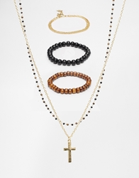 Asos Necklace And Bracelet Pack With Cross Gold