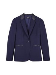Paul Smith Black Raffia Trim Blazer Navy