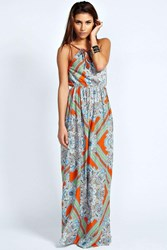 Boohoo Plait Detail Paisley Print Maxi Dress Orange