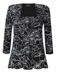Grace Made In Britain Floral Print Top Black