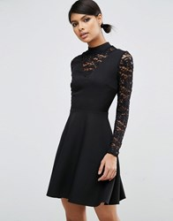 Asos High Neck Skater Dress With Lace Insert And Lace Sleeves Black