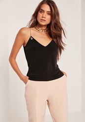 Missguided Gold Chain Cami Black Black