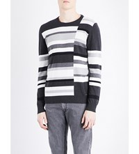 Diesel K Arnau Striped Cotton Jumper Dark Grey Melange