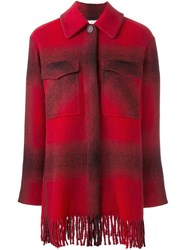 Alexander Wang T By Checked Shirt Coat Red