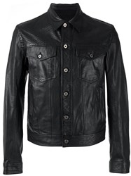 Just Cavalli Button Up Leather Jacket Black