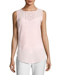 Neiman Marcus Lace Overlay Tank Pink