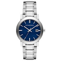 Burberry Bu9031 Men's The City Date Bracelet Strap Watch Silver Blue