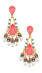 Elizabeth Cole Eloise Earrings In Metallic Gold. Coral