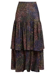 Chloe Abstract Print Crepe Maxi Skirt Navy Multi