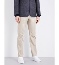 Corneliani Tailored Fit Tapered Stretch Cotton Chinos Beige
