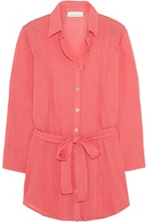 Heidi Klein Porto Vecchio Crinkled Cotton Shirt Dress Orange