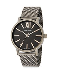 English Laundry Gunmetal Tone Stainless Steel Mesh Watch