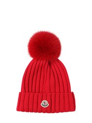 Moncler Wool Knit Hat W Fur Pompom Red