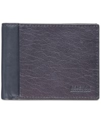 Kenneth Cole Reaction Textured Leather Passcase Wallet Navy