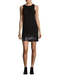 Design Lab Lord And Taylor Faux Leather Trimmed Lace Sheath Dress Black