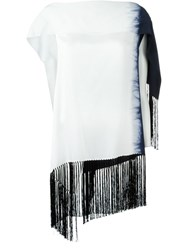 Dusan Tie Dye Asymmetric Top White
