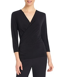 Ellen Tracy Surplice Wrap Top Black