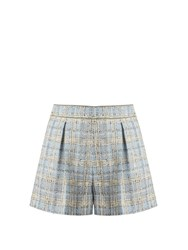 Miu Miu Mid Rise Wool Blend Tweed Shorts Light Blue