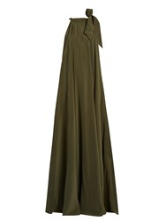Kalita Camille Reversible Silk Crepe Maxi Dress Green