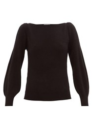 Ryan Roche Boat Neck Balloon Sleeve Cashmere Sweater Black