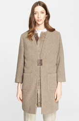 Fabiana Filippi 2 In 1 Boucle Flannel Coat With Genuine Shearling Vest Taupe