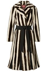 Staud Bungalow Belted Striped Faux Fur Coat Brown