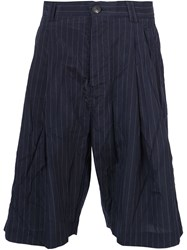 Song For The Mute Pinstriped Bermuda Shorts Blue