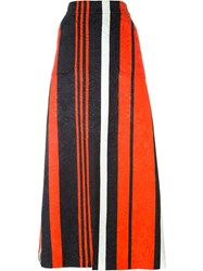 Dolce And Gabbana Striped Maxi Skirt Black
