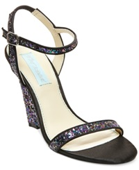 Blue By Betsey Johnson Darci Wedge Evening Sandals Women's Shoes Black Multi