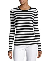 Michael Kors Striped Long Sleeve Crewneck Sweater Black White Black White