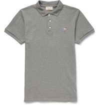 Maison Kitsune Slim Fit Cotton Piqua Polo Shirt Gray