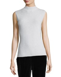 Joan Vass Mock Neck Metallic Shell Silver