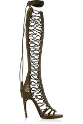 Emilio Pucci Scarpe Studded Leather Sandals Green