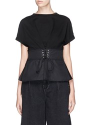 3.1 Phillip Lim Corset Waist Cotton Jersey And Poplin T Shirt Black