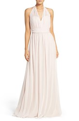 Hayley Paige Occasions Women's Ruched Waist Chiffon Halter Gown Blush Cashmere