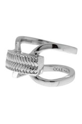 Cole Haan Looped Band Basket Etched Ring Size 7 Metallic