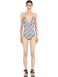 Mc2 Saint Barth Flamingo Print Lycra One Piece Swimsuit
