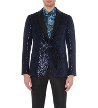 Etro Sequin Embellished Velvet Jacket Blue