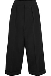 Marni Pleated Linen Blend Wide Leg Pants Black