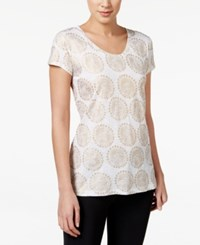 Styleandco. Style And Co. Metallic Foil Medallion Print T Shirt Only At Macy's White Combo